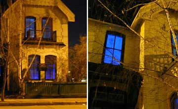 Two images of a different views of a house with blue windows next to each other.
