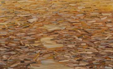 An abstract artwork with painted strokes that resemble woodchips.
