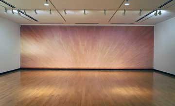 An art installation with a wood floored room and a wall that reflects back the wood flooring.