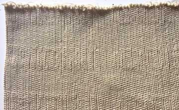A beige woven textile strip on a white background.