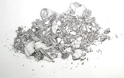 Artwork featuring what appear to be grey outlined broken shards and crumbles on a white background.