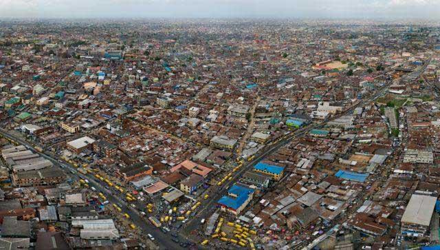 An aerial view of an urban centre